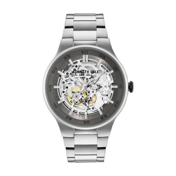 Kenneth Cole Automatic Watch For Men with Silver Stainless Steel Bracelet