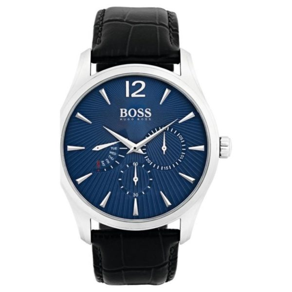 Hugo Boss Commander Watch For Men with Black Leather Strap