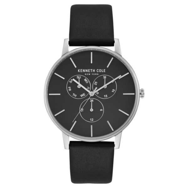 Kenneth Cole Dress Sport Watch For Men with Black Genuine Leather Strap