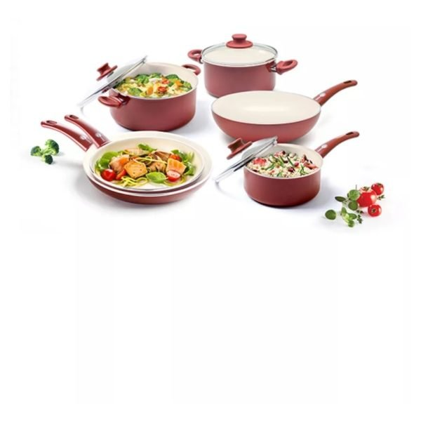 Greenpan Soft Grip Aluminum Ceramic Non Stick Cookware 9pc Set GP1189