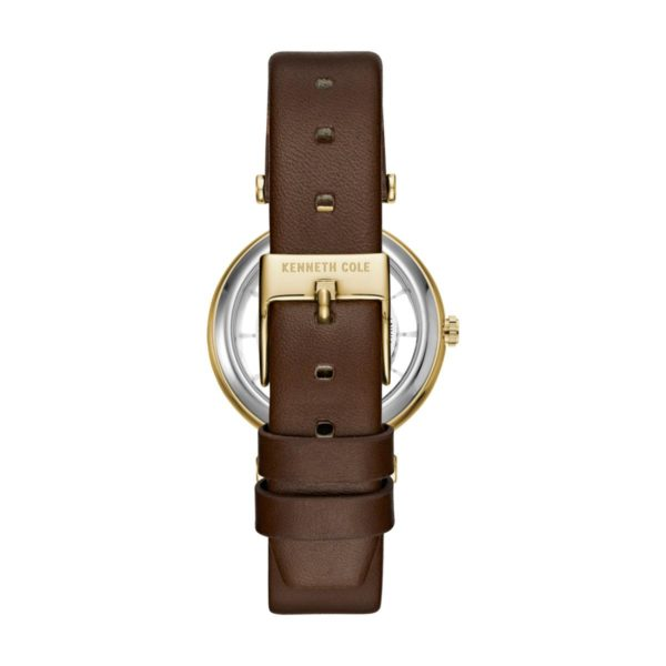 Kenneth Cole Transparency Watch For Women with Brown Dark Genuine Leather Strap