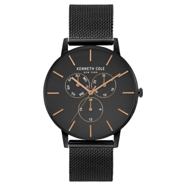 Kenneth Cole Dress Sport Watch For Men with Black Stainless Steel Bracelet
