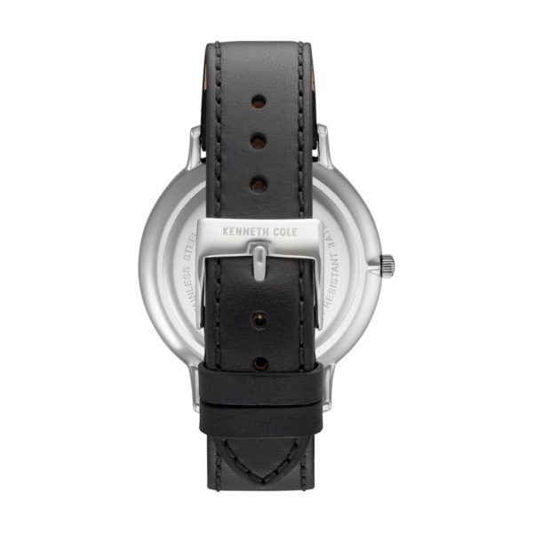 Kenneth Cole Classic Watch For Men with Black Genuine Leather Strap