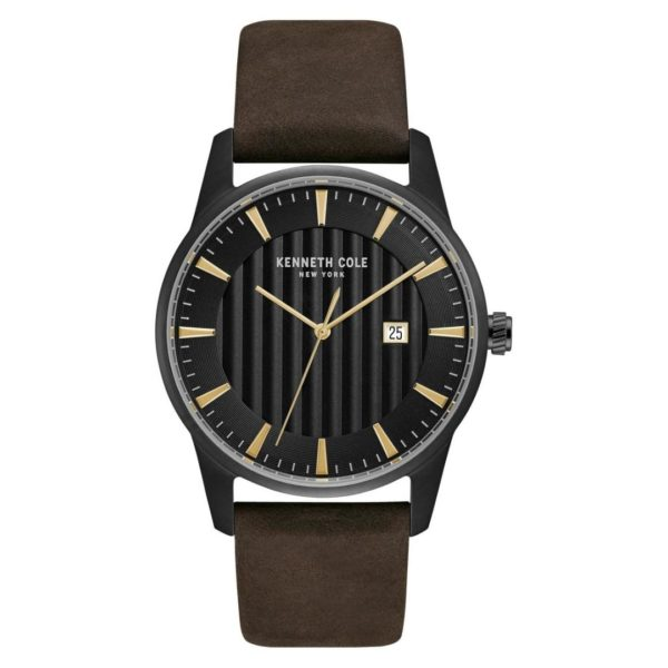 Kenneth Cole Classic Watch For Men with Brown Dark Genuine Leather Strap
