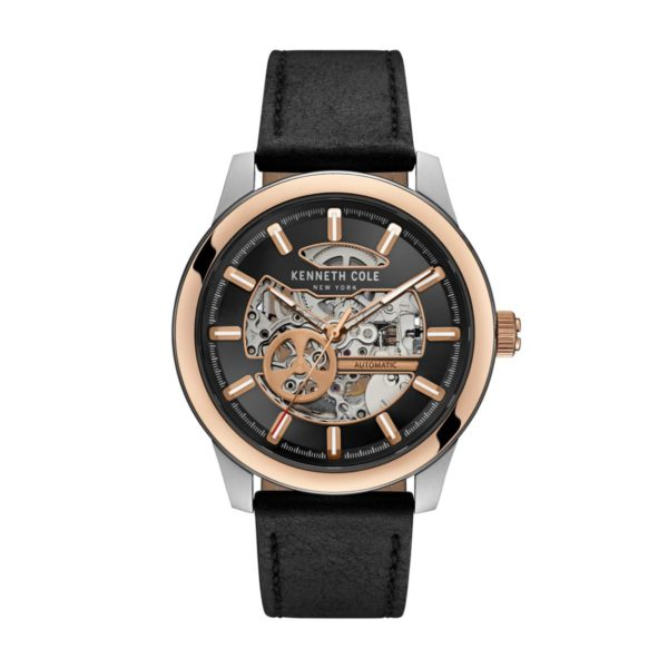 Kenneth Cole New York Watch For Men with Black Leather Strap