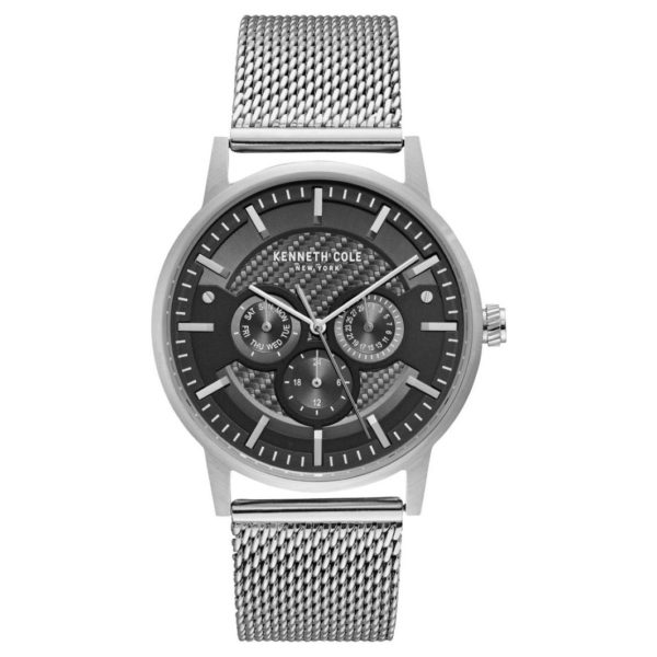 Kenneth Cole Dress Sport Watch For Men with Silver Stainless Steel Bracelet