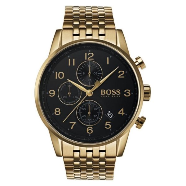 Hugo Boss Navigator Watch For Men with Gold Metal Bracelet