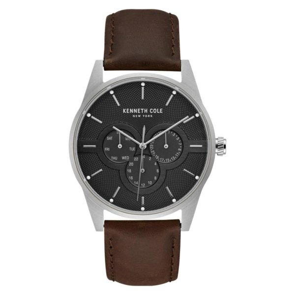 Kenneth Cole Dress Sport Watch For Men with Brown Genuine Leather Strap