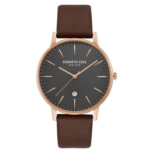 Kenneth Cole Classic Watch For Men with Brown Genuine Leather Strap