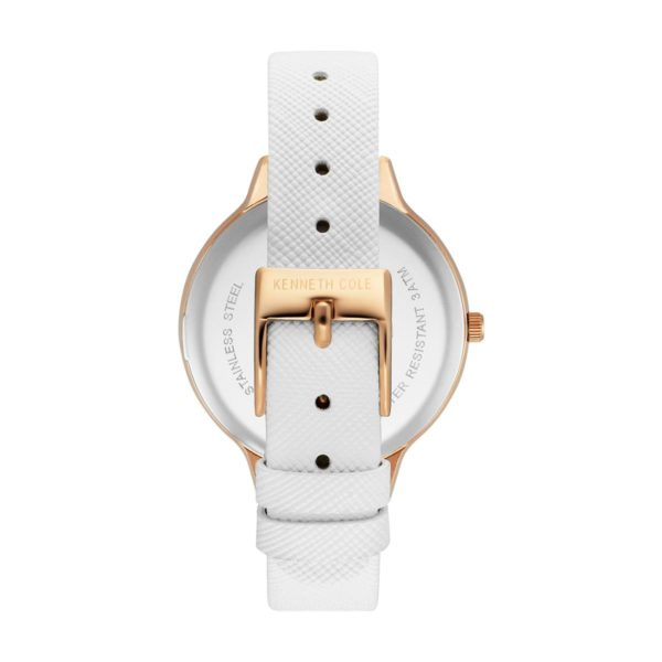 Kenneth Cole Classic Watch For Women with White Genuine Leather Strap