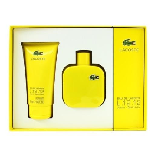 Lacoste L.12.12 Jaune Optimistic Perfume Gift Set For Men (Lacoste L.12.12 Jaune Optimistic Perfume 100 ml EDT + Shower Gel 150ml)
