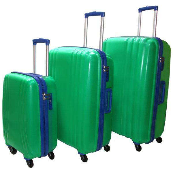 Highflyer THKELVIN3PC Kelvin Trolley Luggage Bag Green/Blue 3pc Set