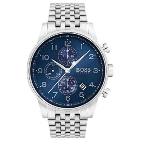 Hugo Boss Navigator Watch For Men with Silver Metal Bracelet