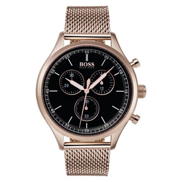 Hugo Boss Companion Watch For Men with Gold Mesh Bracelet