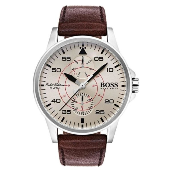 Hugo Boss Aviator Watch For Men with Brown Leather Strap