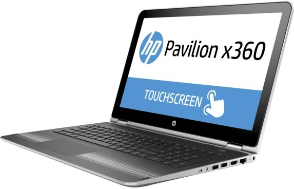 HP Pavilion x360 15-BK011NE Convertible Touch Laptop - Core i7 2.5GHz 8GB 500GB 2GB Win10 15.6inch FHD Silver