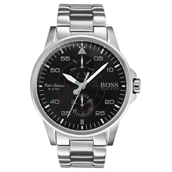 Hugo Boss Aviator Watch For Men with Silver Bracelet