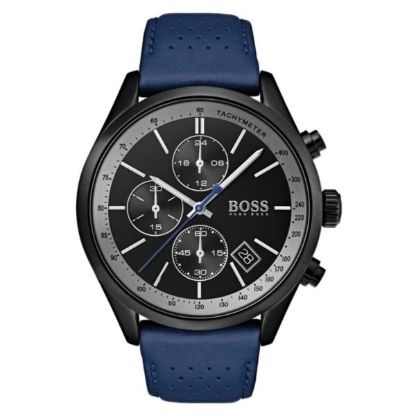 Hugo Boss Grand Watch For Men with Blue Leather Strap