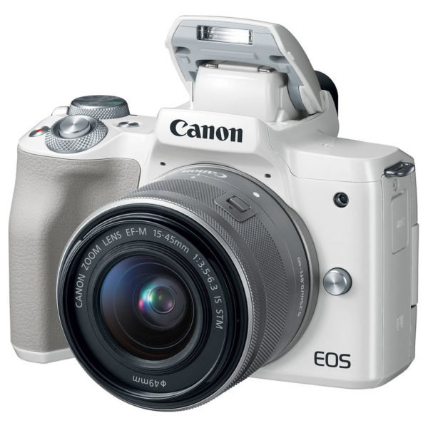 Canon EOS M50 Mirrorless Digital Camera White With EF-M 15-45mm f/3.5-6.3 IS STM Lens