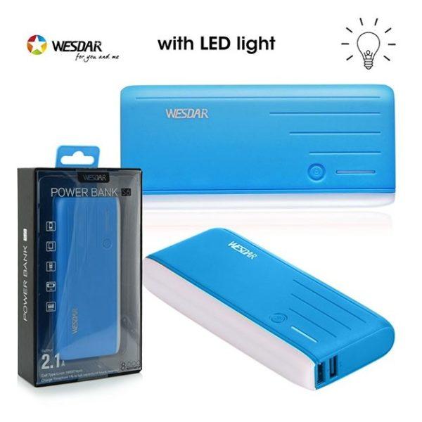 Wesdar Power Bank 8000mAh Blue - S6
