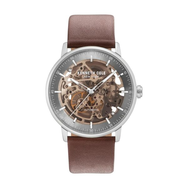 Kenneth Cole Automatic Watch For Men with Brown Dark Genuine Leather Strap