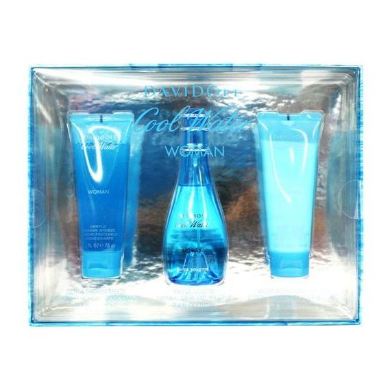 Davidoff Cool Water Gift Set For Women (Davidoff Cool Water 100ml EDT + Body Lotion 75ml + Shower Gel 75ml)
