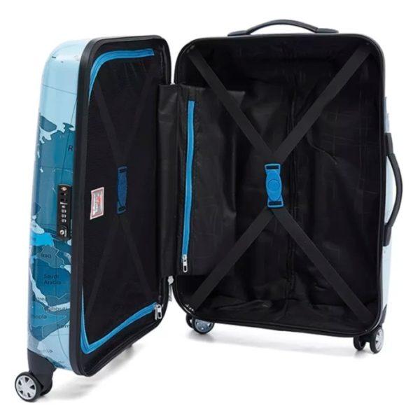 Eminent Map Spinner Trolley Luggage Bag Blue 24inch - KF3224BLU