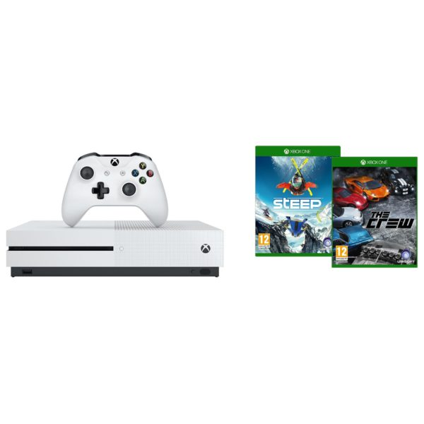 Microsoft Xbox One S Console 500GB White + Steep & The Crew DLC Game