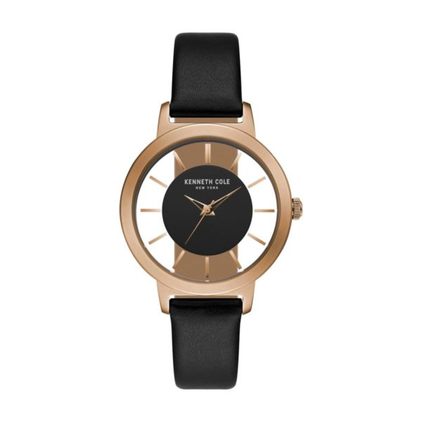 Kenneth Cole Transparency Watch For Women with Black Genuine Leather Strap