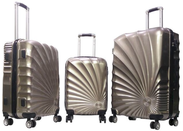 Senator 3 Pcs ABS And PC Spinner Luggage Trolley Case Champagne