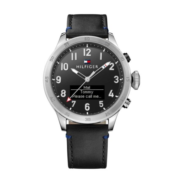 Tommy Hilfiger SMART Watch For Men with Black Leather Strap