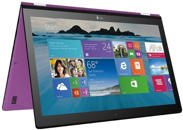Ilife ZedNote IL1106G232 Convertible Touch Laptop - Atom 1.8GHz 2GB 32GB Shared Win10.1 11.6inch HD Purple
