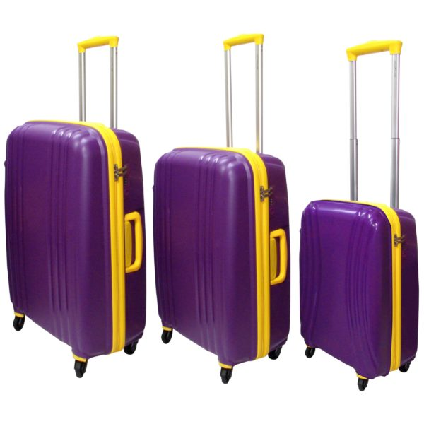 Highflyer THKELVIN3PC Kelvin Trolley Luggage Bag Purple/Yellow 3pc Set