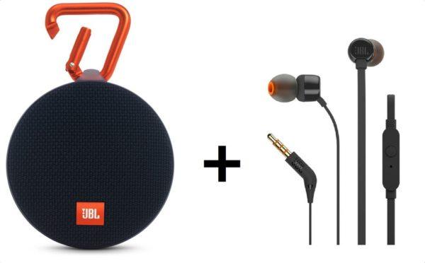 5ceeb46682b JBL Clip 2 Waterproof Portable Bluetooth Speaker + JBL T110 In Ear Wired  Headphone Assorted Color