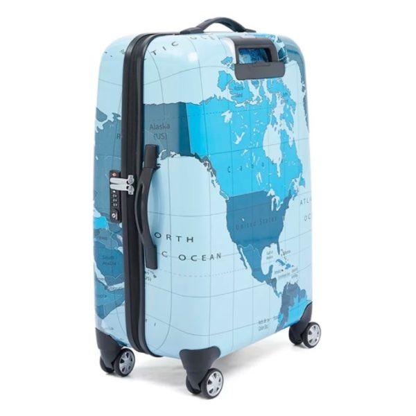 Eminent Map Spinner Trolley Luggage Bag Blue 20inch - KF3220BLU