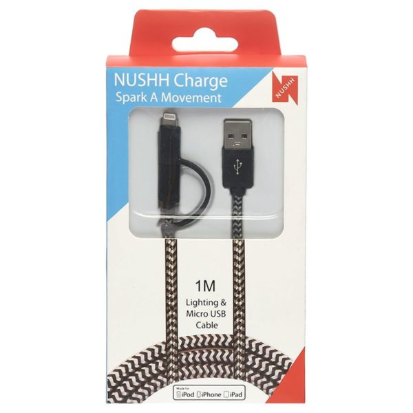 Nushh 2in1 Micro USB Cable With Lightning Adaptor 1M Black/White