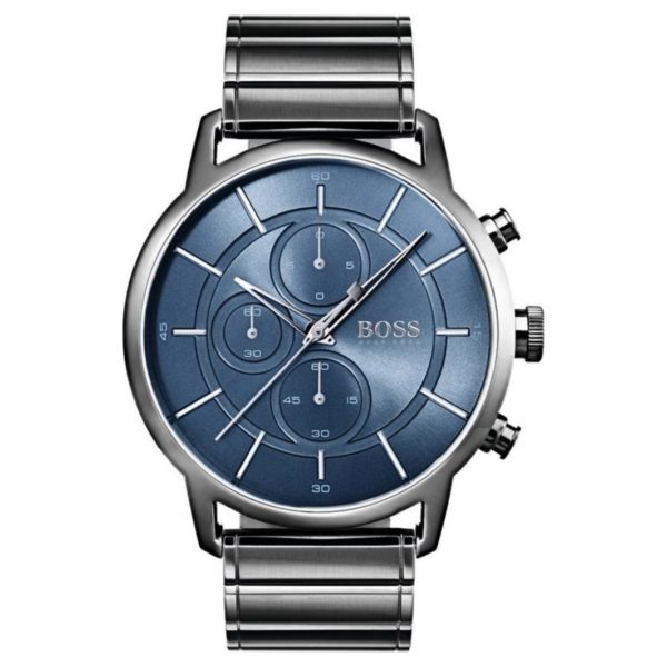 Hugo Boss Architectural Watch For Men with Grey Metal Bracelet