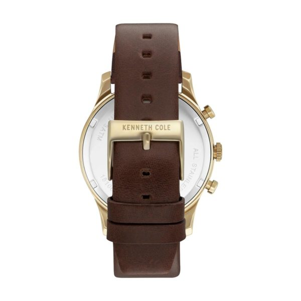 Kenneth Cole Dress Sport Watch For Men with Brown Dark Genuine Leather Strap