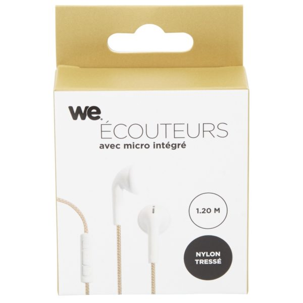 We Earphone With Mic & Woven Cable 1.20M Gold