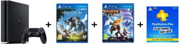 Sony PS4 Slim Gaming Console 500GB Black + Horizon Zero Dawn Game + Ratchet Game + Drive Club Game + 3 Month Membership Playstation Plus