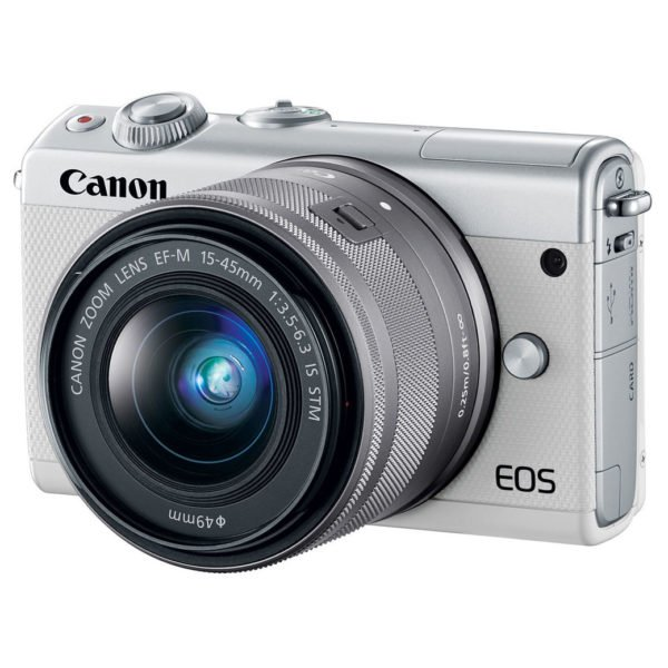 Canon EOS M100 Mirrorless Digital Camera Body White With EF-M15-45 IS STM Lens