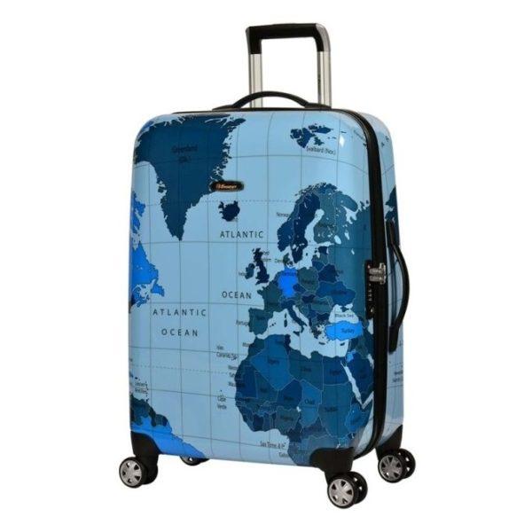 Eminent Map Spinner Trolley Luggage Bag Blue 28inch - KF3228BLU