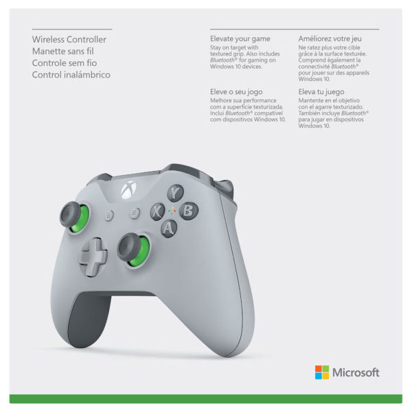 """Microsoft WL300061 Xbox One Wireless Controller Grey/Green """"Discounted  prices are applicable on a purchase of Xbox One console only"""" (Promotion"""