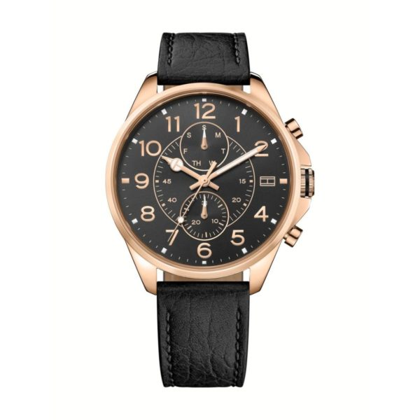 Tommy Hilfiger DEAN Watch For Men with Black Leather Strap