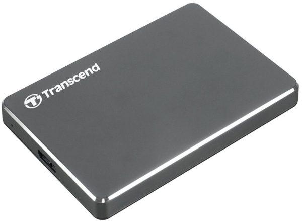 Transcend TS1TSJ25C3N StoreJet Extra Slim USB 3.0 Portable Hard Drive 1TB Aluminium