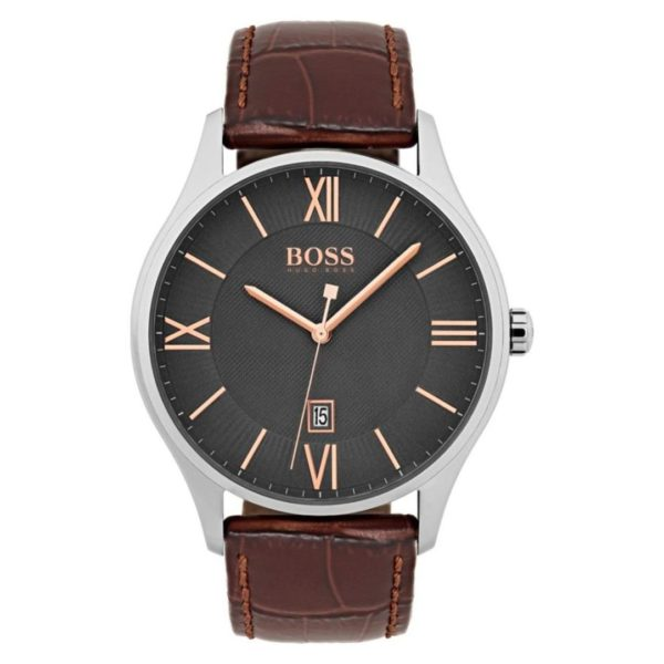 Hugo Boss Governor Watch For Men with Brown Leather Strap