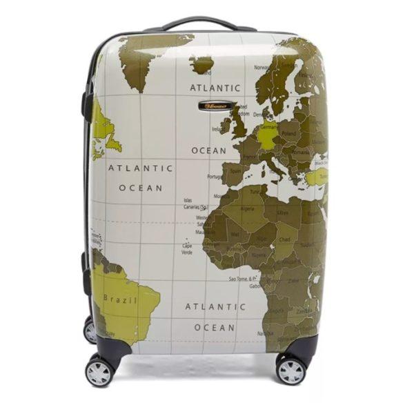 Eminent Map Spinner Trolley Luggage Bag Grey 20inch - KF3220GRY