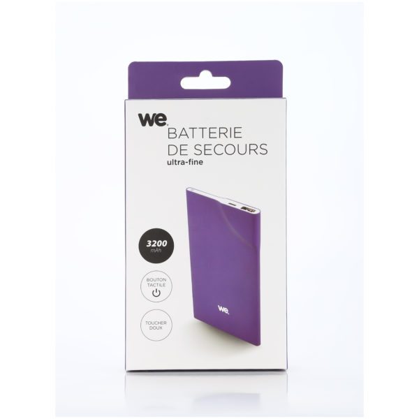 We Power Bank 3200mAh 1USB 1A Ultrathin Purple