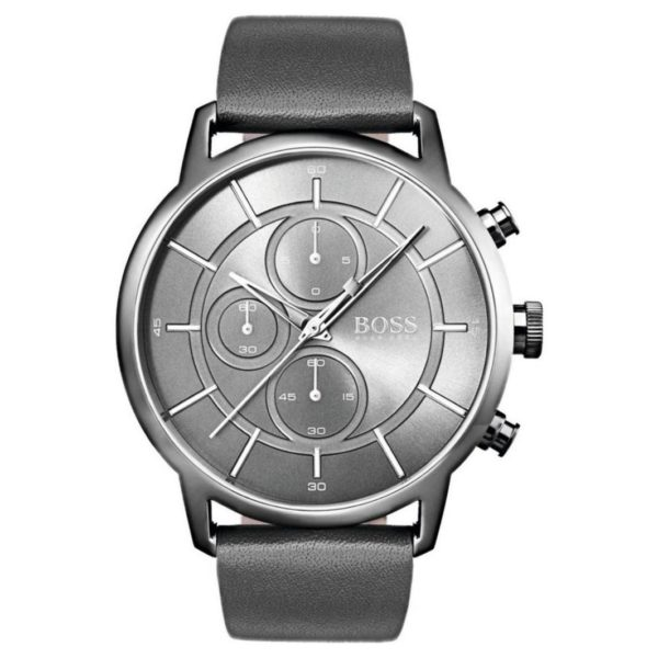 Hugo Boss Architectural Watch For Men with Dark Grey Leather Strap