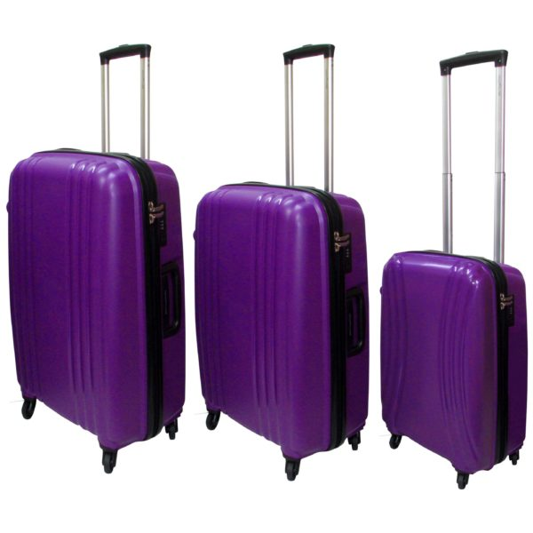 Highflyer THKELVIN3PC Kelvin Trolley Luggage Bag Purple/Black 3pc Set